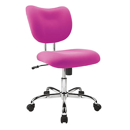 Brenton Studio® Jancy Mesh Low-Back Fabric Task Chair, Pink/Chrome