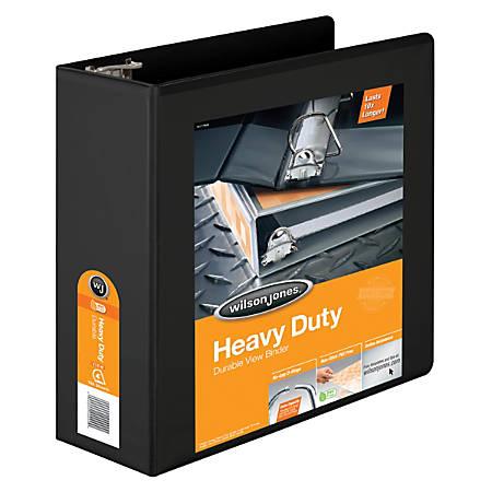 """Wilson Jones® Heavy-Duty View Binders, 385, With No-Gap D-Rings, 4"""" Rings, 48% Recycled, Black"""