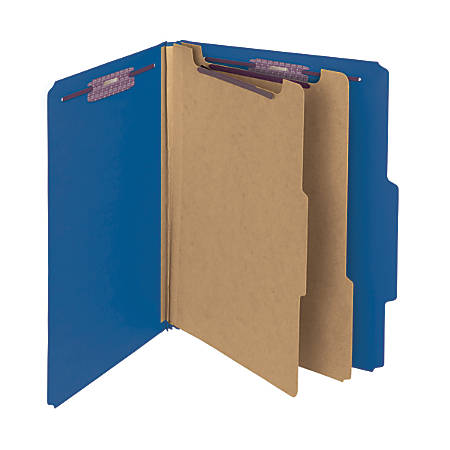 Smead® Pressboard Classification Folders With SafeSHIELD® Coated Fasteners, Letter Size, 60% Recycled, Dark Blue, Box Of 10
