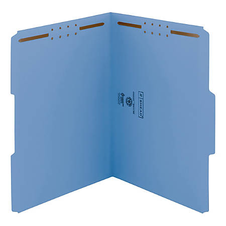 Smead® Color Reinforced Tab Fastener Folders, Letter Size, 1/3 Cut, 100% Recycled, Blue, Pack Of 50