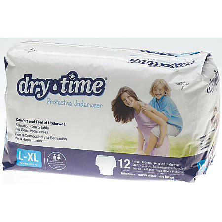 DryTime Disposable Protective Youth Underwear, Large/X-Large, Bag Of 12