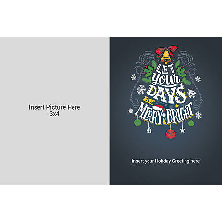 Flat Photo Greeting Card, Merry And Bright, Horizontal