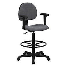 Flash Furniture Ergonomic Drafting Chair GrayBlack