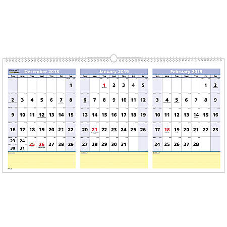 """AT-A-GLANCE® QuickNotes® 15-Month 3-Month Reference Horizontal Wall Calendar, 23 1/2"""" x 12"""", December 2018 to February 2020"""