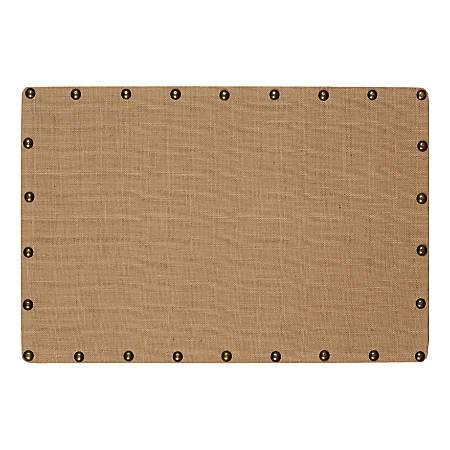 "Linon Burke Medium Burlap Nailhead Corkboard, 24"" x 36"", Brown/Antique Bronze"