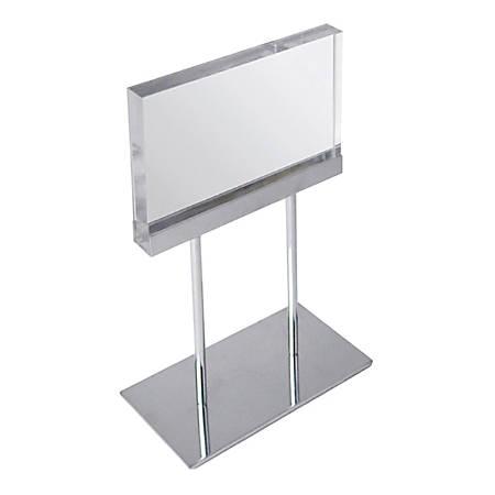 "Azar Displays Elite Series Acrylic Horizontal Block Countertop Sign Holder, 13-1/2""H x 8-1/2""W x 4""D, Clear"