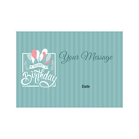 Flat Photo Greeting Card, Birthday Balloons, Horizontal