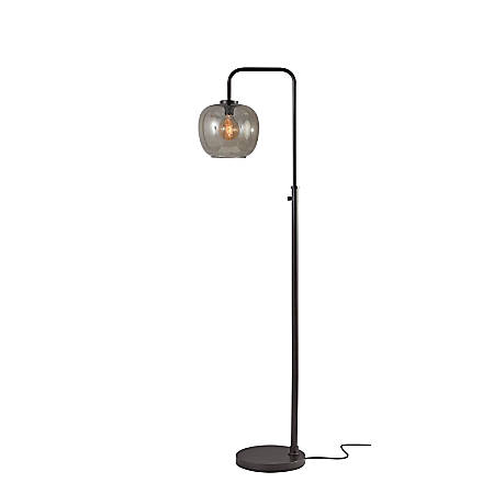 "Adesso® Ashton Floor Lamp, 58-3/4""H, Smoked Shade/Matte Black Base"