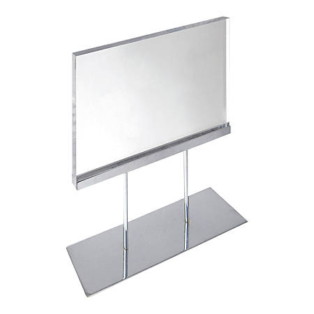 "Azar Displays Elite Series Acrylic Horizontal Block Countertop Sign Holder, 16-1/2""H x 11""W x 4""D, Clear"