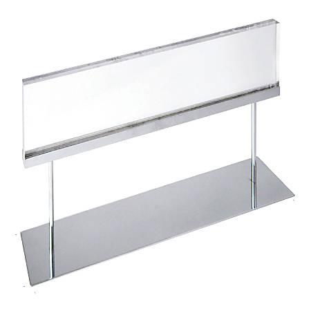 "Azar Displays Elite Series Acrylic Horizontal Block Countertop Sign Holder, 14""H x 22""W x 4""D, Clear"