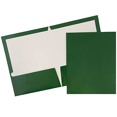 JAM Paper® Glossy 2-Pocket Presentation Folders, Green, Pack of 6
