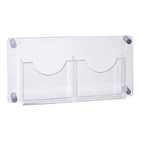 "Azar Displays 2-Pocket Acrylic Wall-Mount Brochure Holder, 11""H x 23""W x 1-1/2""D, Clear"
