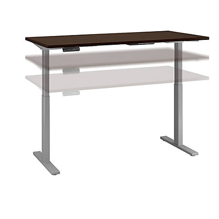 "Bush Business Furniture Move 60 Series 72""W x 30""D Height Adjustable Standing Desk, Mocha Cherry Satin/Cool Gray Metallic, Standard Delivery"