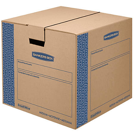 "Bankers Box® SmoothMove™ Prime Moving Boxes, Medium, 16"" x 16"" x 18"", 85% Recycled, Kraft Brown, Pack Of 8"
