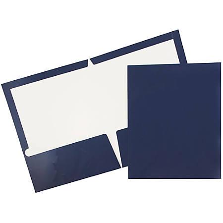 JAM Paper® Glossy 2-Pocket Presentation Folders, Navy Blue, Pack of 6