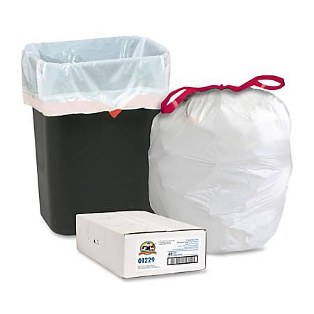 Genuine Joe Flex Drawstring Trash Liners, 16 Gallon, White, Box Of 60