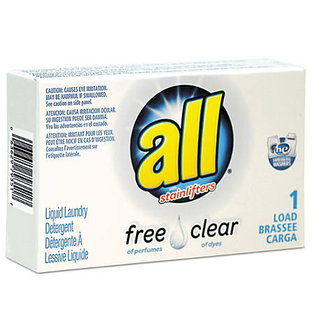 All® Free Clear HE Liquid Laundry Detergent, Unscented, 1.6 Oz, Pack Of 100