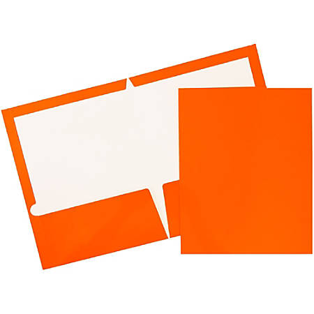 "JAM Paper® Glossy 2-Pocket Presentation Folders, 9 1/2"" x 11 1/2"", 1"" Capacity, Orange, Pack Of 6"