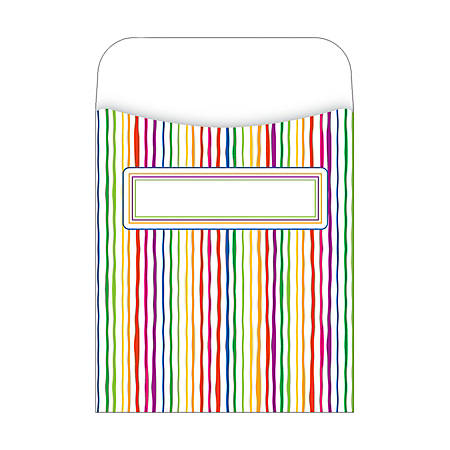 "Barker Creek Peel & Stick Library Pockets, 3 1/2"" x 5 1/8"", Stripes, Pack Of 30"