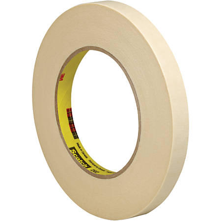 """3M™ 202 Masking Tape, 3"""" Core, 0.5"""" x 180', Natural, Pack Of 72"""