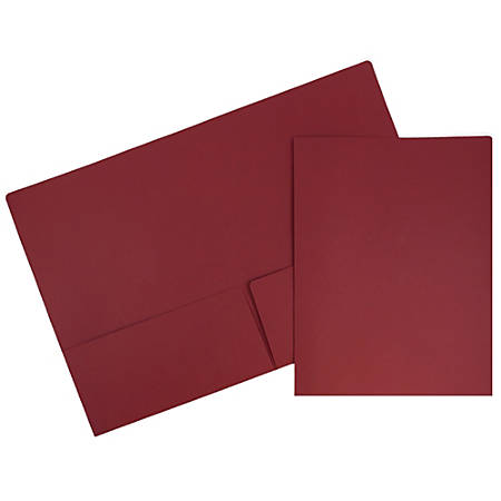 "JAM Paper® Matte 2-Pocket Presentation Folders, 9"" x 12"", Dark Red, Pack Of 6"