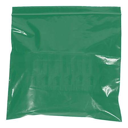 """Office Depot® Brand Colored Reclosable Poly Bags, 2 mils, 3"""" x 5"""", Green, Case Of 1,000"""