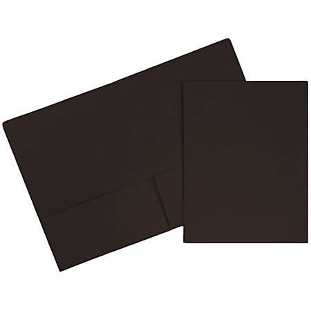 "JAM Paper® Matte 2-Pocket Presentation Folders, 9"" x 12"", 100% Recycled, Chocolate Brown, Pack Of 6"