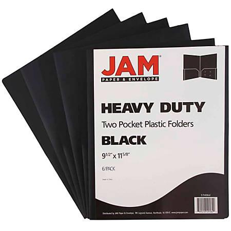 "JAM Paper® Heavy-Duty 2-Pocket Plastic Presentation Folders, 9"" x 12"", 1"" Capacity, Black, Pack Of 6"