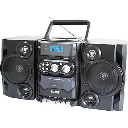 Naxa NPB-428 Mini Hi-Fi System - 5 W RMS - Black - CD Player, Cassette Recorder - 1 Disc(s) - 1 Cassette(s) - FM, AM - 2 Speaker(s) - CD-DA, MP3 - USB - Remote Control