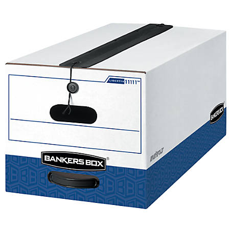 """Bankers Box® Liberty® Plus Storage Boxes With String & Button Closure, 24"""" x 12"""" x 10"""", Letter, 60% Recycled, White/Blue, Carton Of 12"""
