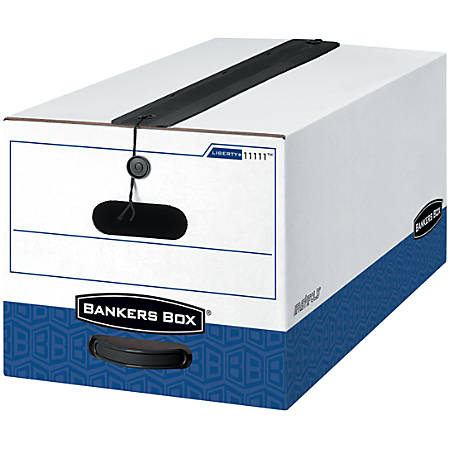 "Bankers Box® Liberty® Plus Storage Boxes With String & Button Closure, 24"" x 15"" x 10"", Legal, 60% Recycled, White/Blue, Carton Of 12"