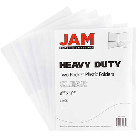 "JAM Paper® Heavy-Duty 2-Pocket Plastic Presentation Folders, 9"" x 12"", 1"" Capacity, Clear, Pack Of 6"
