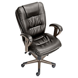 """Ganton Mid-Back Bonded Leather Chair, 43 1/4""""H x 27 1/4""""W x 30""""D, Brown"""