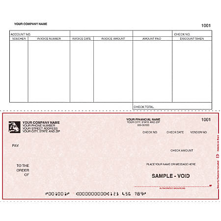 """Custom Continuous Accounts Payable Checks For RealWorld®, 9 1/2"""" x 7"""", 1 Part, Box Of 250"""