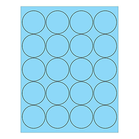 "Office Depot® Brand Circle Inkjet/Laser Labels, LL197BE, 2"", Pastel Blue, Pack Of 2,000 Labels"