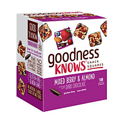 goodnessKNOWS Mixed Berries, Almond And Dark Chocolate Gluten-Free Snack Square Bars, Box Of 18 Bars