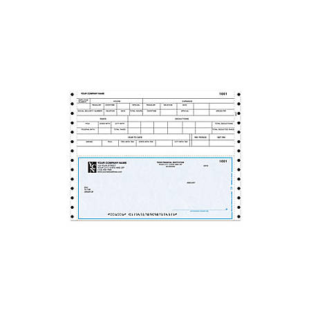 "Custom Continuous Payroll Checks For Champion Business Systems®, 9 1/2"" x 7"", 1 Part, Box Of 250"