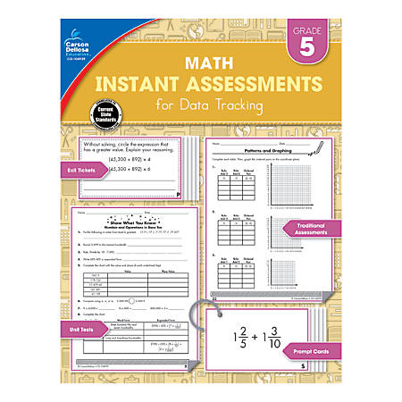 Carson-Dellosa Instant Assessments For Data Tracking Math Resource Book, Grade 5