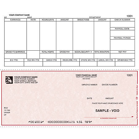 """Continuous Payroll Checks For DACEASY®, 9 1/2"""" x 7"""", 1 Part, Box Of 250"""