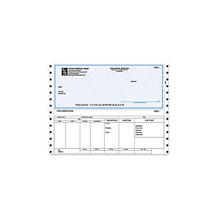 """Custom Continuous Payroll Checks For RealWorld®, 9 1/2"""" x 7"""", 1 Part, Box Of 250"""