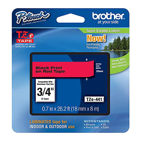 """Brother® TZe-441 Black-On-Red Tape, 0.75"""" x 26.2'"""