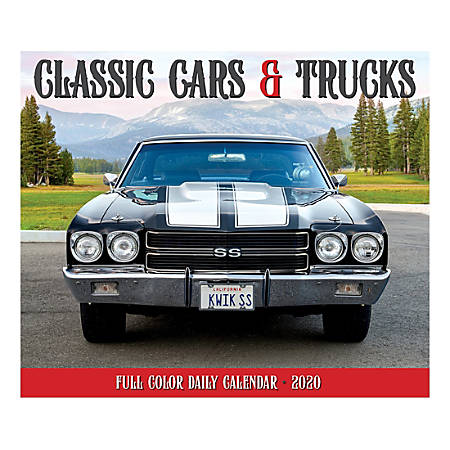 """Willow Creek Press Page-A-Day Daily Desk Calendar, 5-1/2"""" x 6-1/4"""", Classic Cars And Trucks, January to December 2020, 08812"""