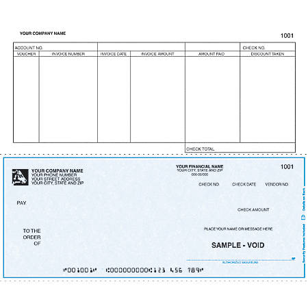"Custom Continuous Accounts Payable Checks For RealWorld®, 9 1/2"" x 7"", 2 Parts, Box Of 250"