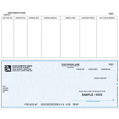 "Continuous Accounts Payable Checks For Sage Peachtree®, 9 1/2"" x 7"", 2 Parts, Box Of 250"