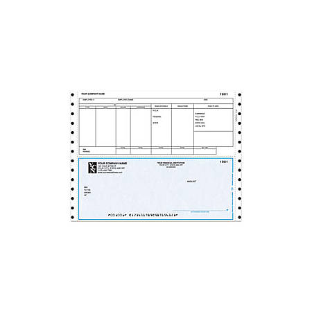 """Custom Continuous Payroll Checks For Great Plains®, 9 1/2"""" x 7"""", 2 Parts, Box Of 250"""