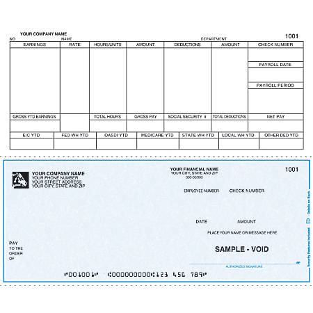 """Continuous Payroll Checks For DACEASY®, 9 1/2"""" x 7"""", 2 Parts, Box Of 250"""
