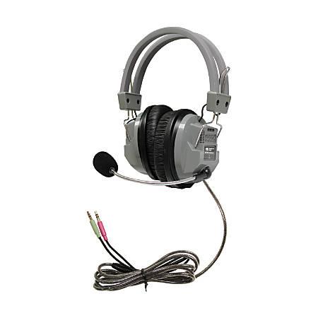 HamiltonBuhl™ SchoolMate™ Deluxe HA7M On Ear Headphones With Mic, Silver/Black