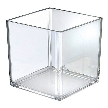"Azar Displays Cube Display Bins, 6"" x 6"" x 6"", Clear, Pack Of 4 Bins"