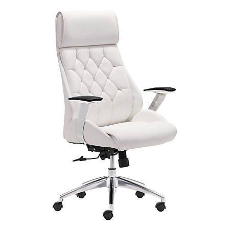 Zuo® Modern Faux Leather Mid-Back Boutique Office Chair, White/Chrome