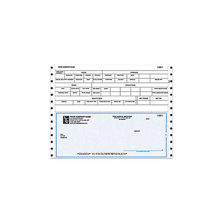 "Continuous Payroll Checks For Champion Business Systems®, 9 1/2"" x 7"", 3 Parts, Box Of 250"